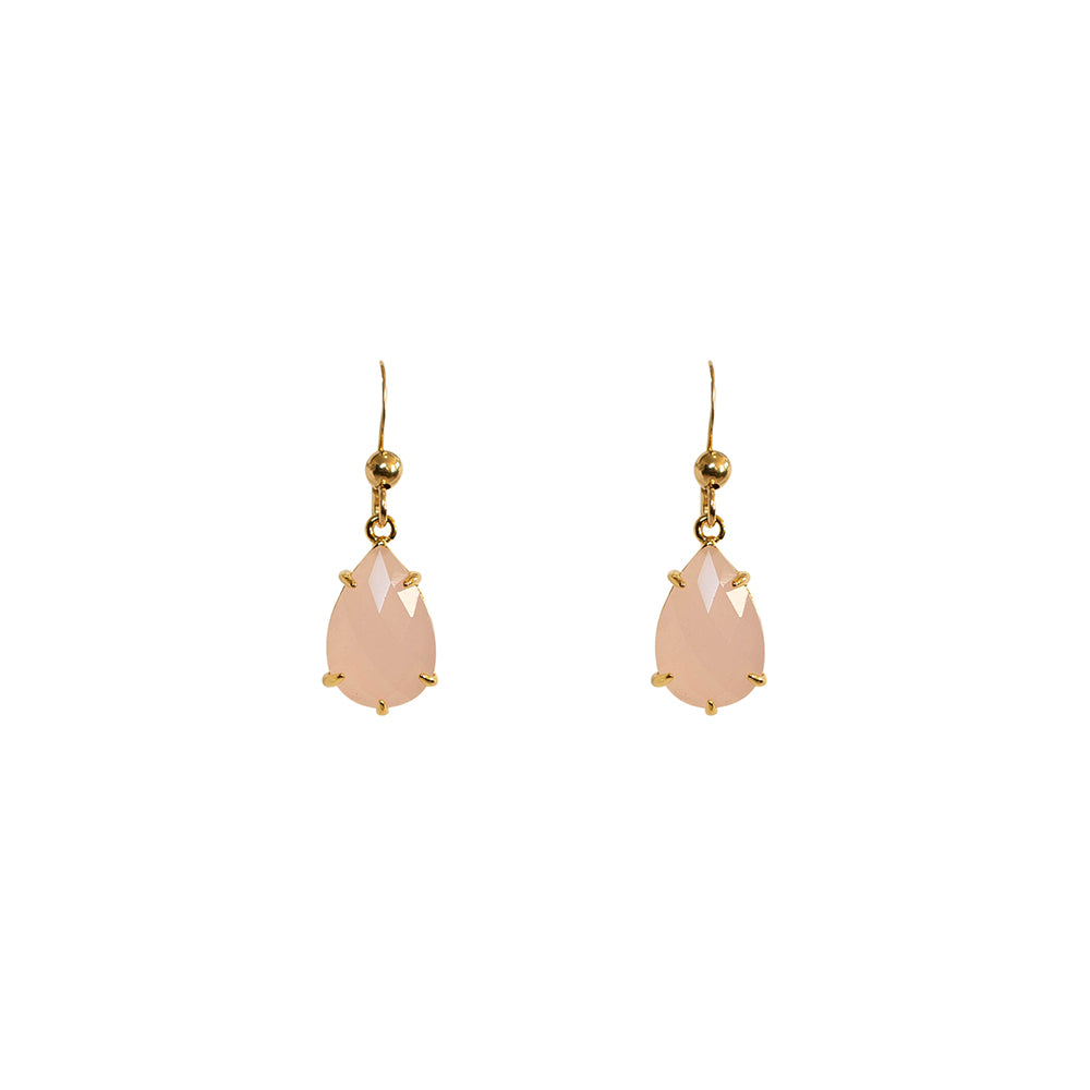 """Rose Quartz"" Glass Prong Teardrop Earrings"
