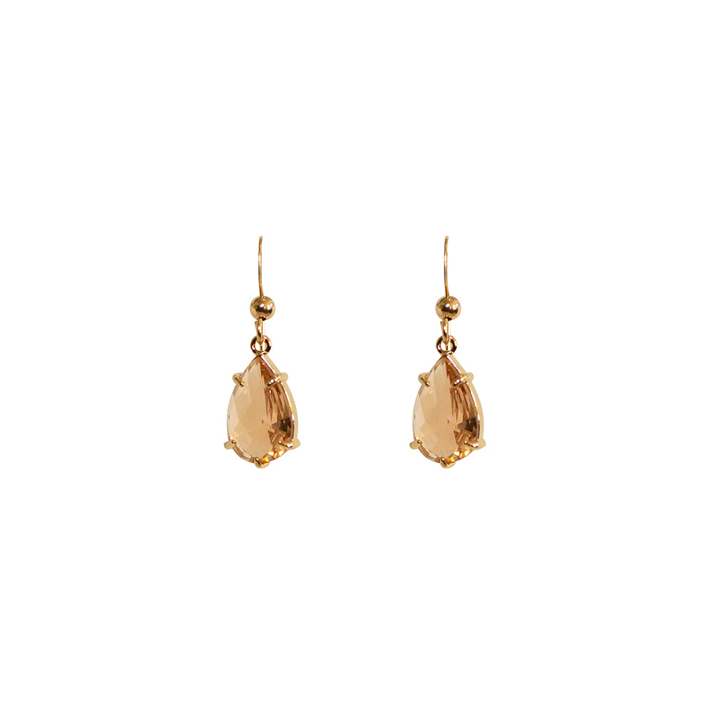"""Morganite"" Glass Prong Teardrop Earrings"