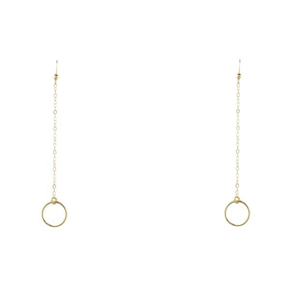 Circle Drop Chain Earrings