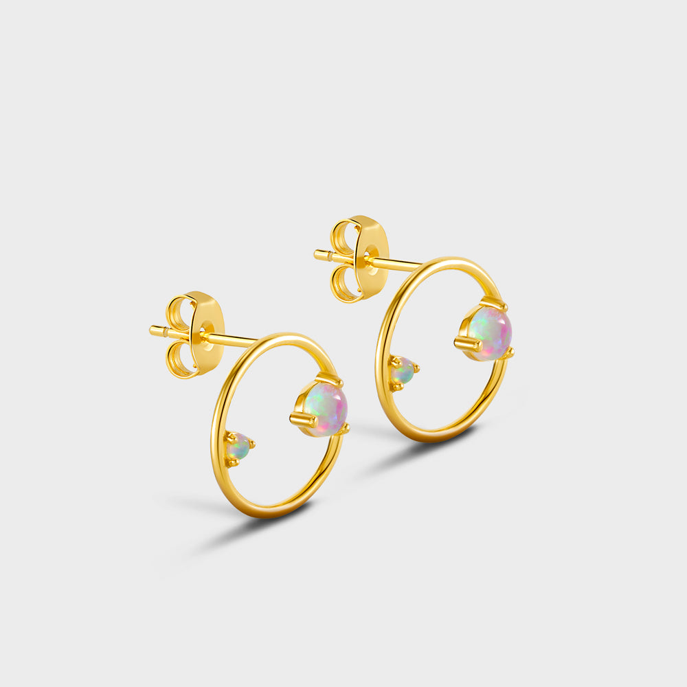 Floating Opals Circle Stud Earrings