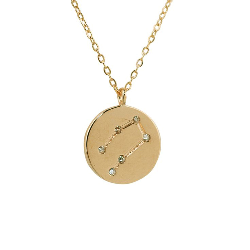 TOOSUO Two-Tone Pendant Necklace 18K Gold Plated Year Constellation Name Necklace for Women