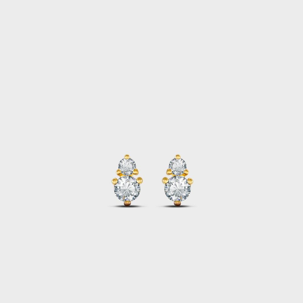 Irregular Double Clear CZ Prong Studs