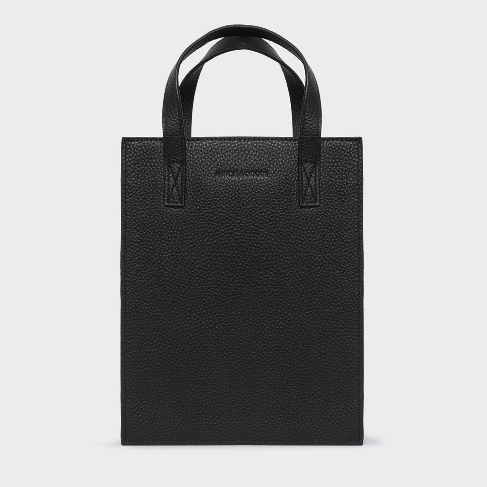 Mini Shopper Tote w/ Strap - No° T1 - Black Pebble Grain