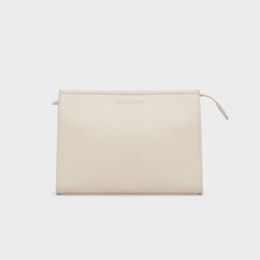 Pouch Crossbody w/ Wide Strap - No° U2 - Off White Pebble Grain
