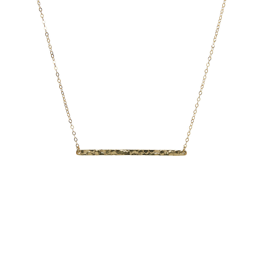 Long Hammered Bar Necklace