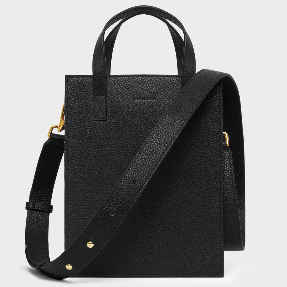 Shopper Tote w/ Wide Strap - No° S1 - Black Pebble Grain