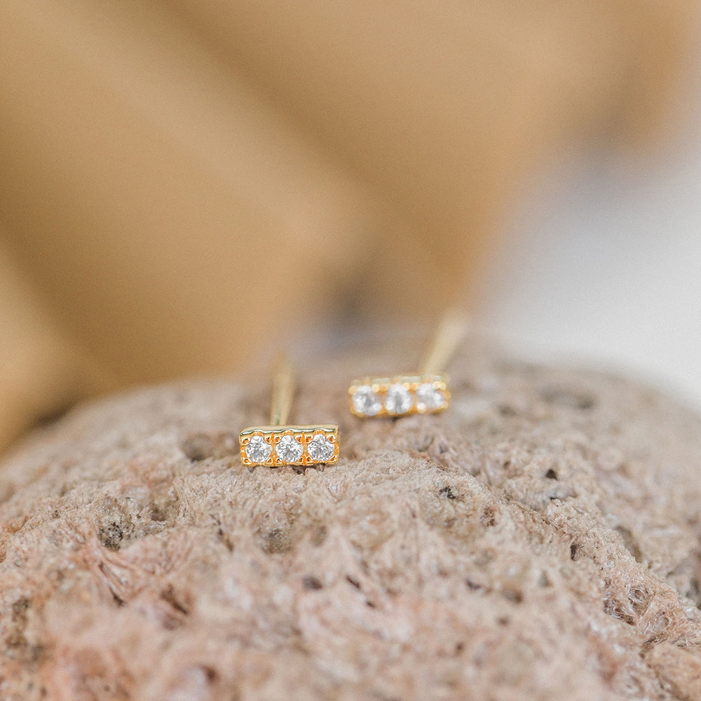 5mm Pave Trio Clear CZ Bar Studs