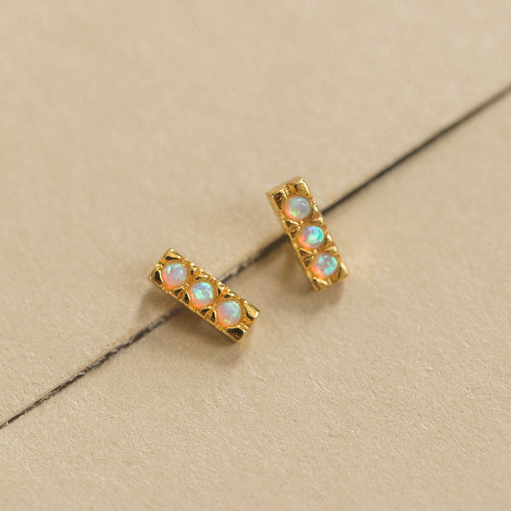 5mm Pave Trio Opals Bar Studs