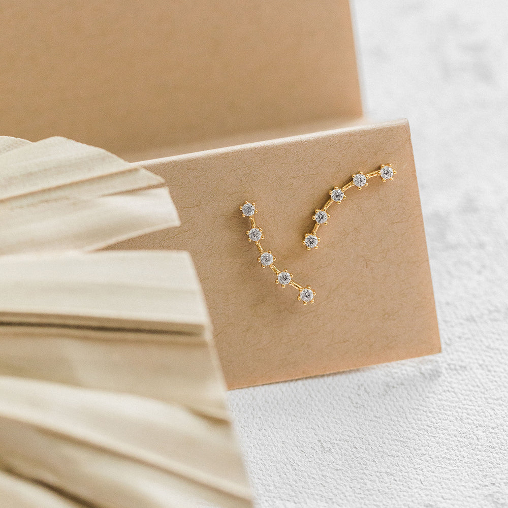 Constellation Pave CZ Climber Stud Earrings