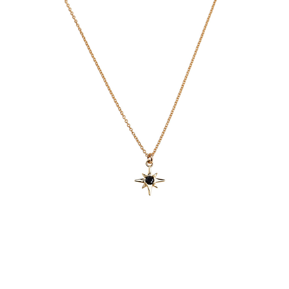 Small North Star Black CZ Solitaire Pendant Necklace