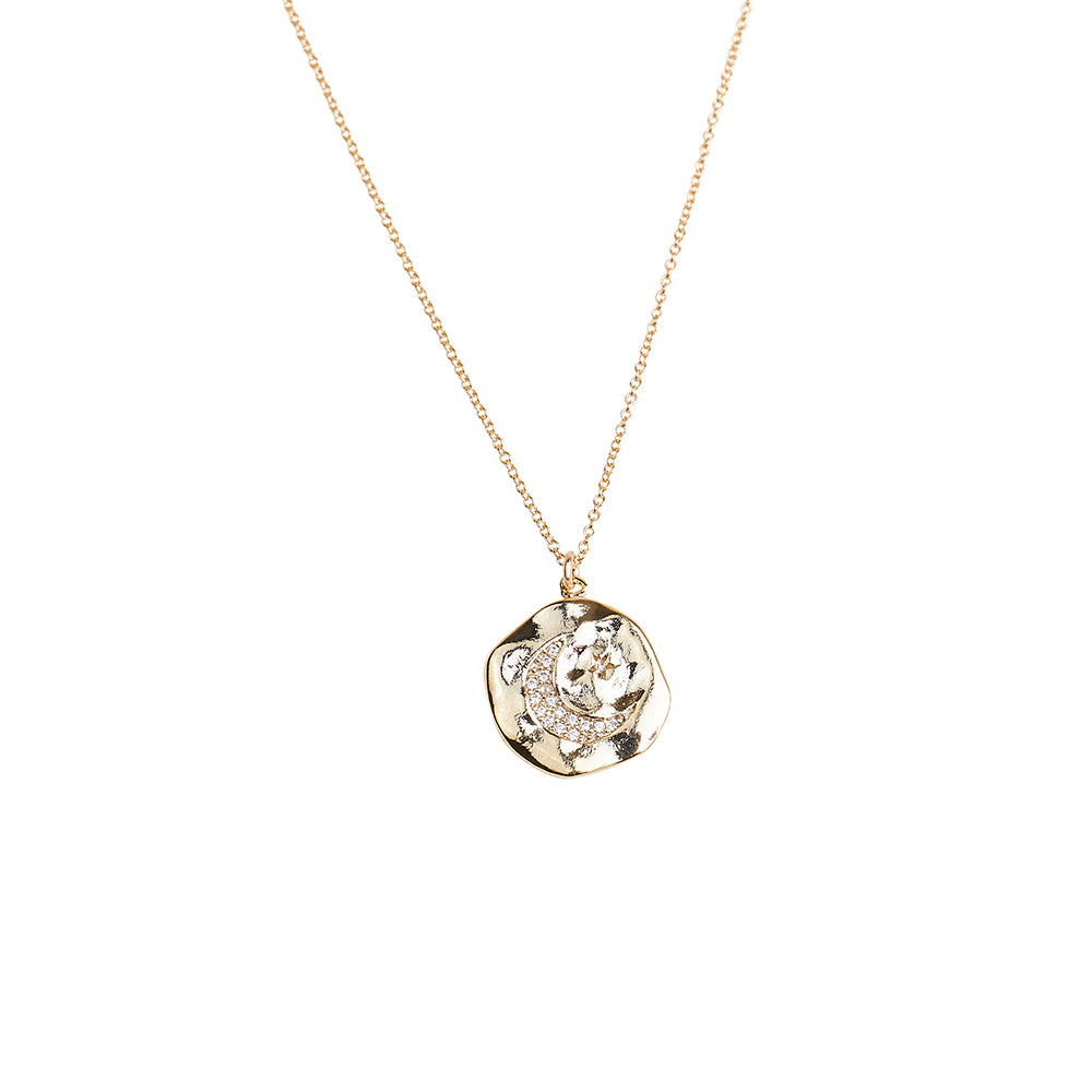 Celestial Pave Moon + Star Coin Pendant Necklace