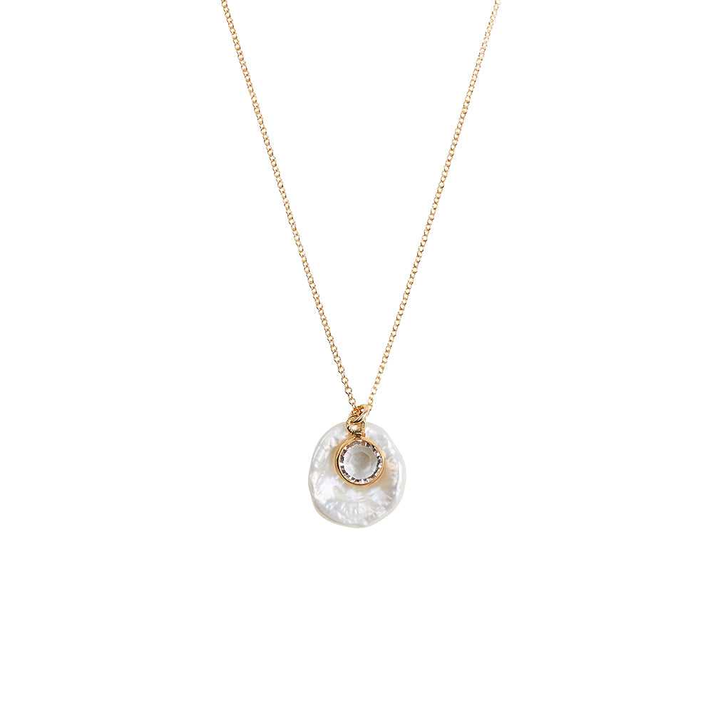 Round Flat Fresh Water Baroque Pearl + Clear Crystal Pendant Necklace