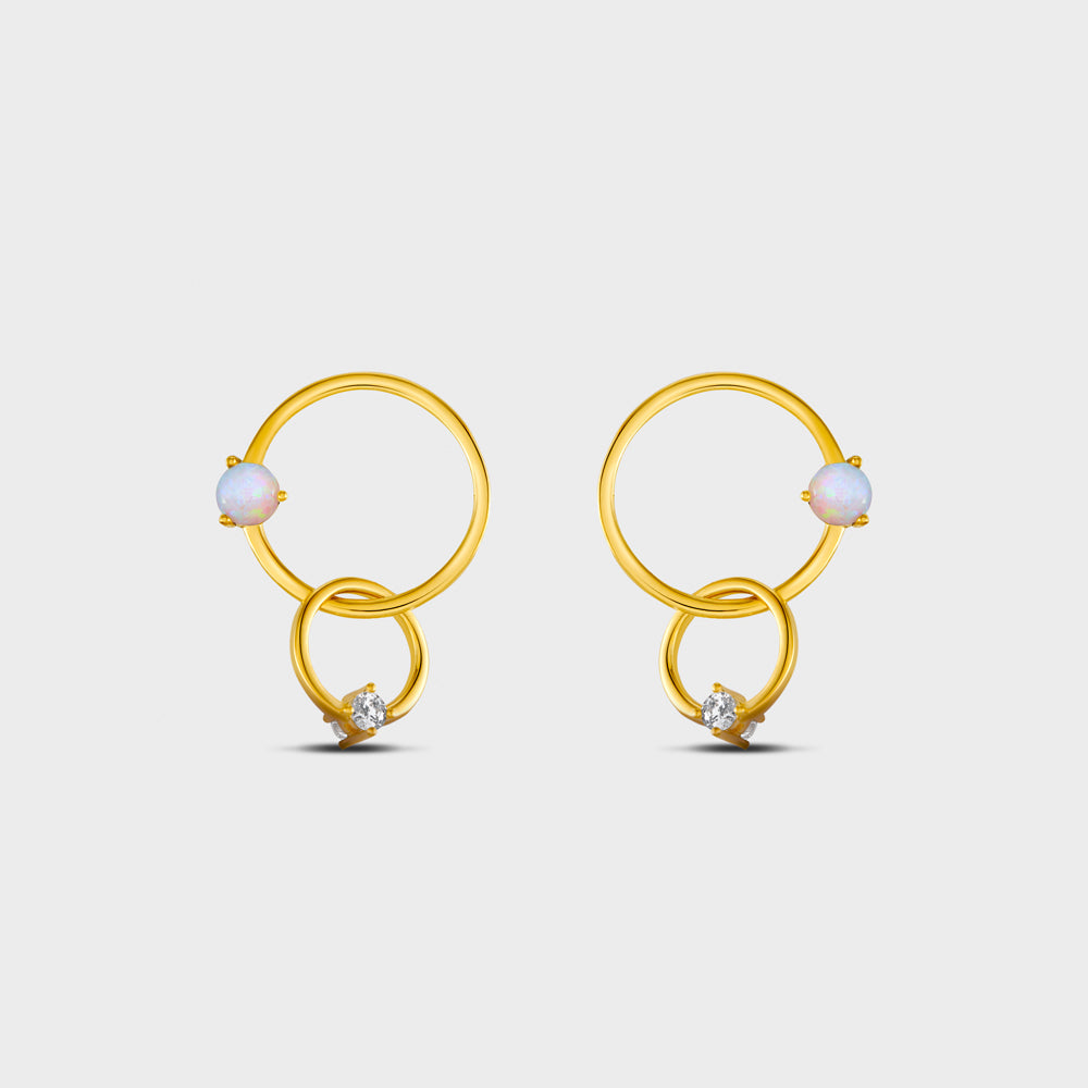 Floating Opal Interlock Circles + CZ Drop Studs Earrings