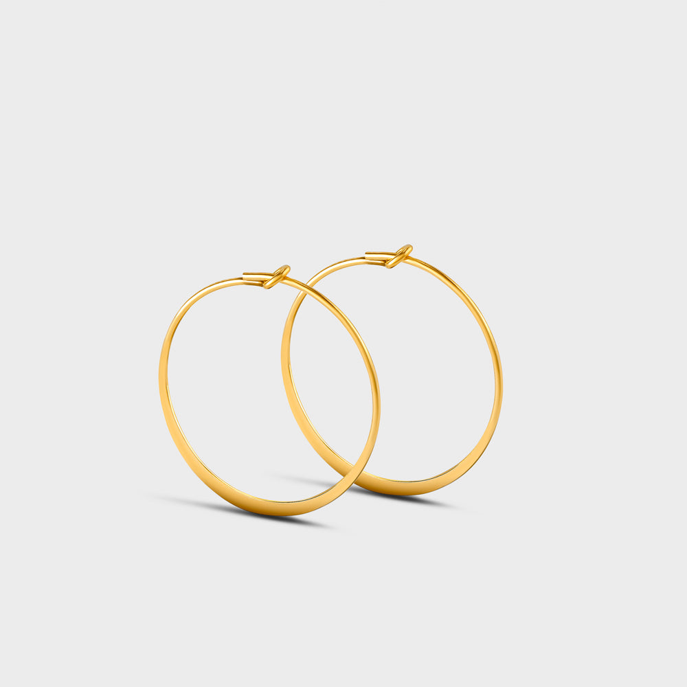 Medium Flatten Wire Hoops Earrings