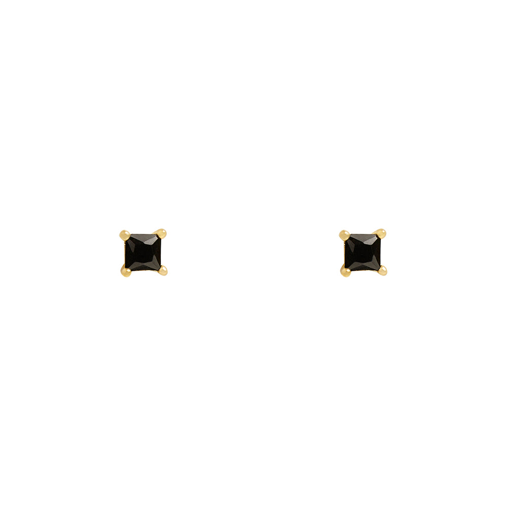 3mm Square Black CZ Prong Studs