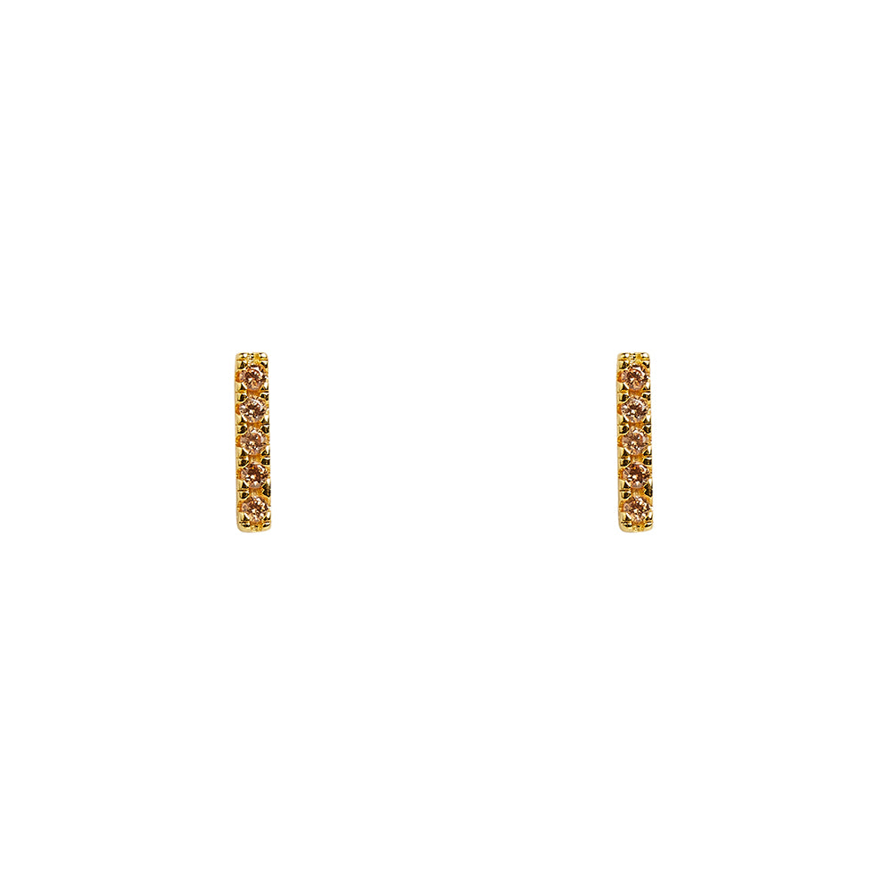 10mm Pave Champagne CZ Bar Studs