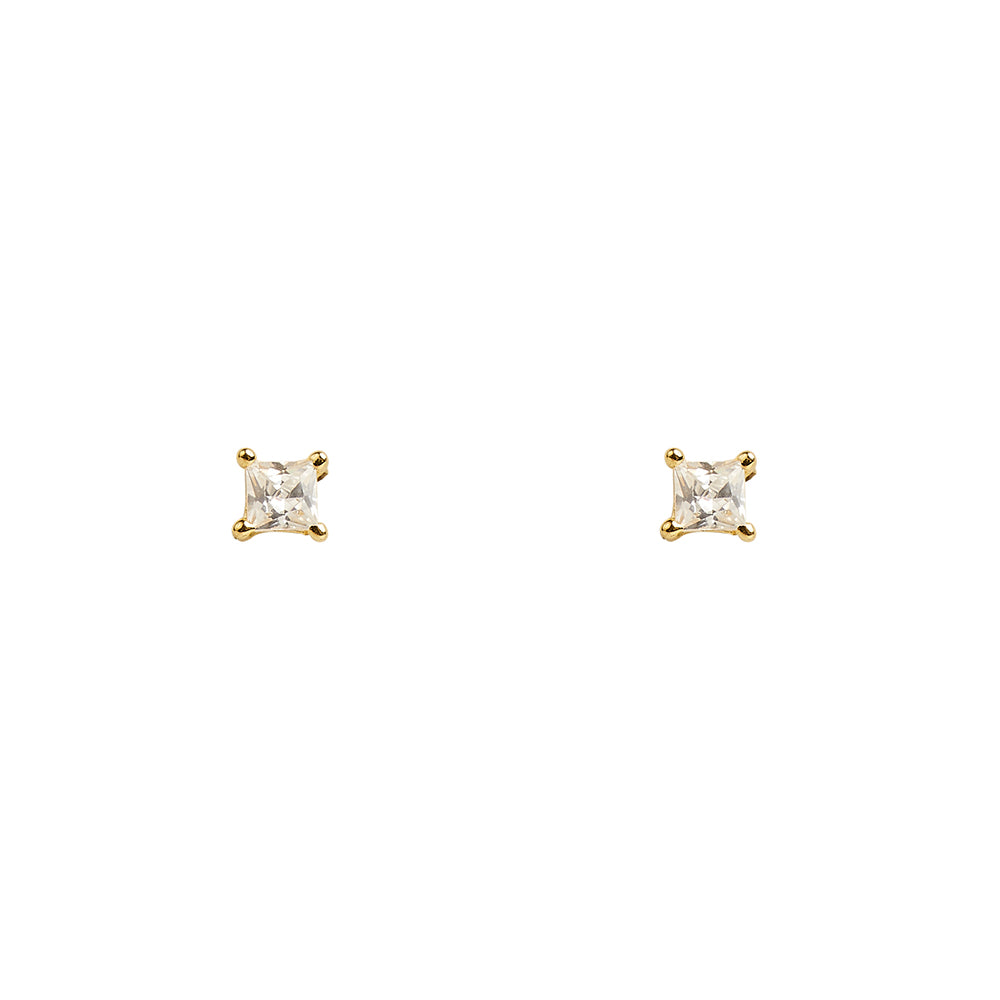 3mm Square Clear CZ Prong Studs