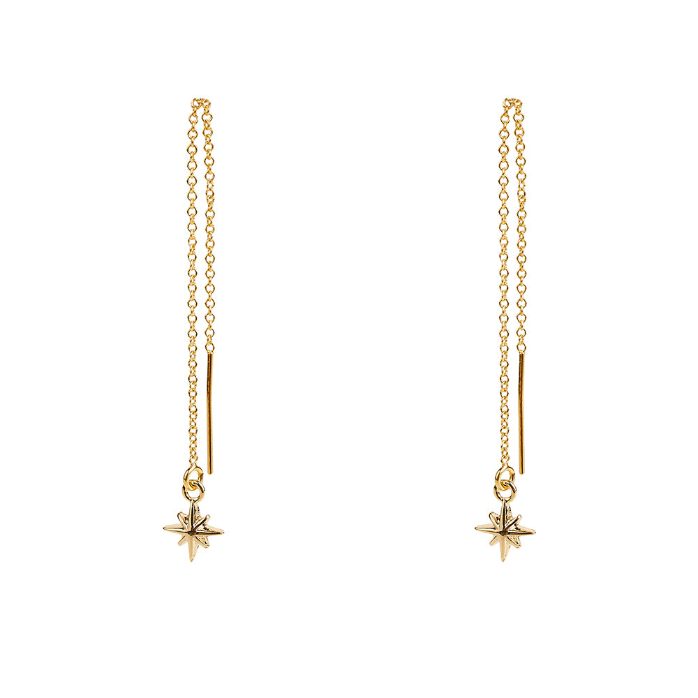 Tiny North Star Threaders Earrings