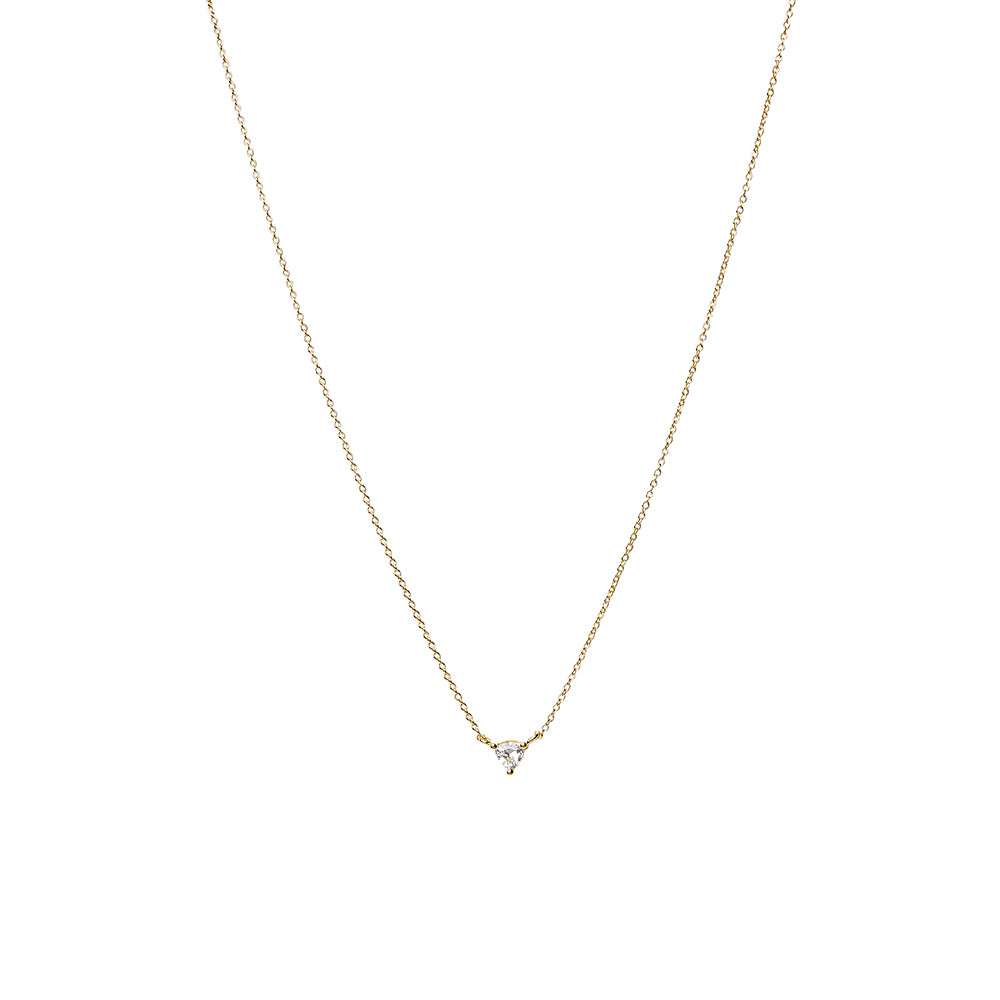 Clear CZ Trillion Cut Triangle Solitaire Necklace