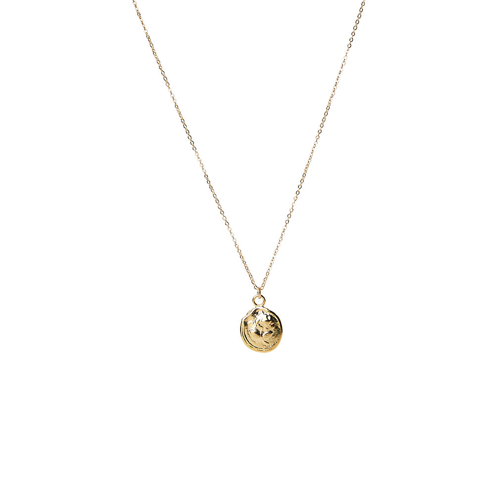 Small Rose Wax Seal Disc Pendant Necklace