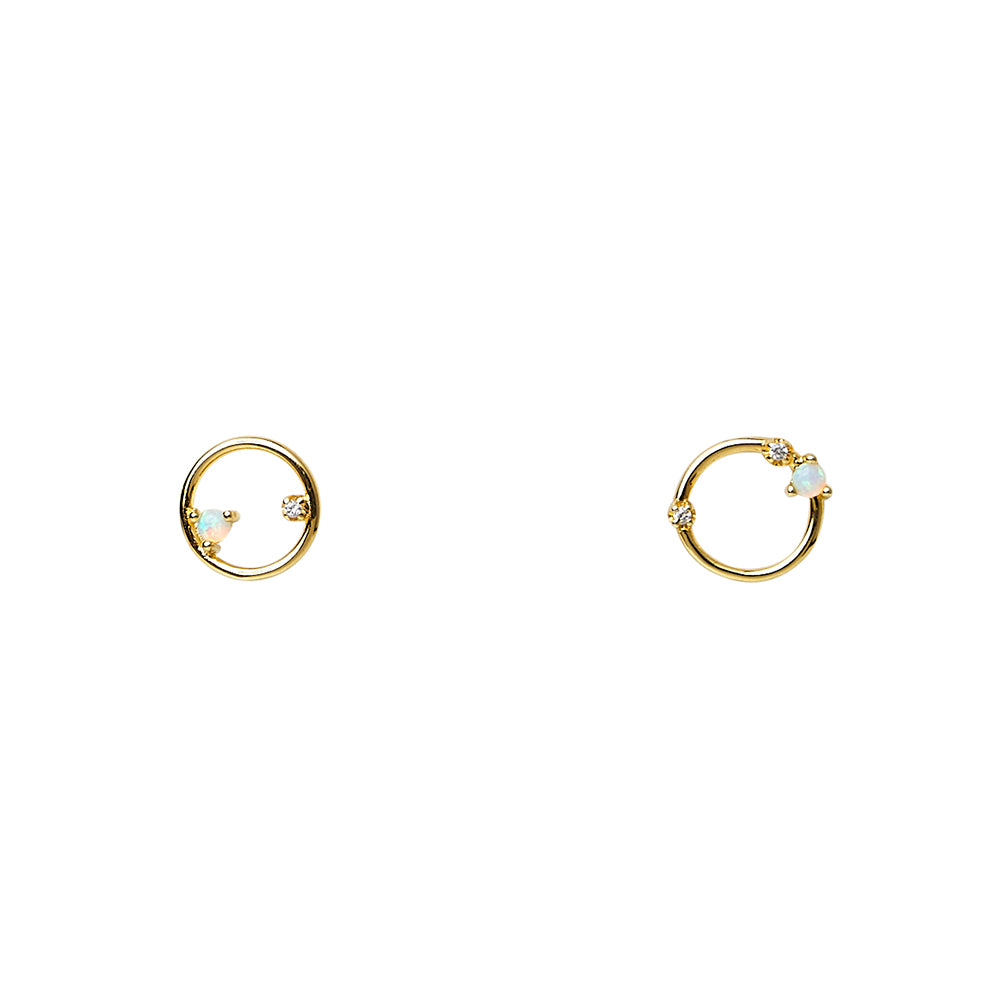 Scattered Floating Opals + CZ Circle Outline Studs Earrings