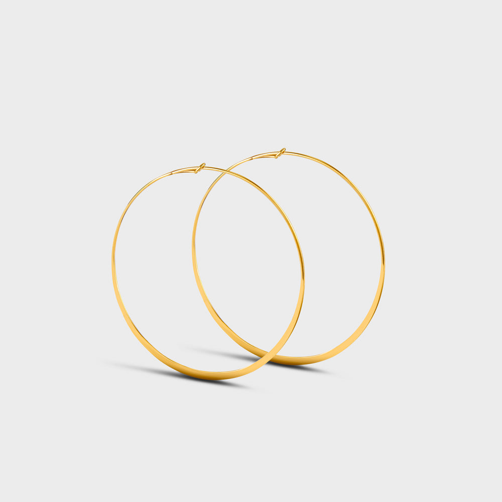 Large Flatten Wire Hoops Earrings