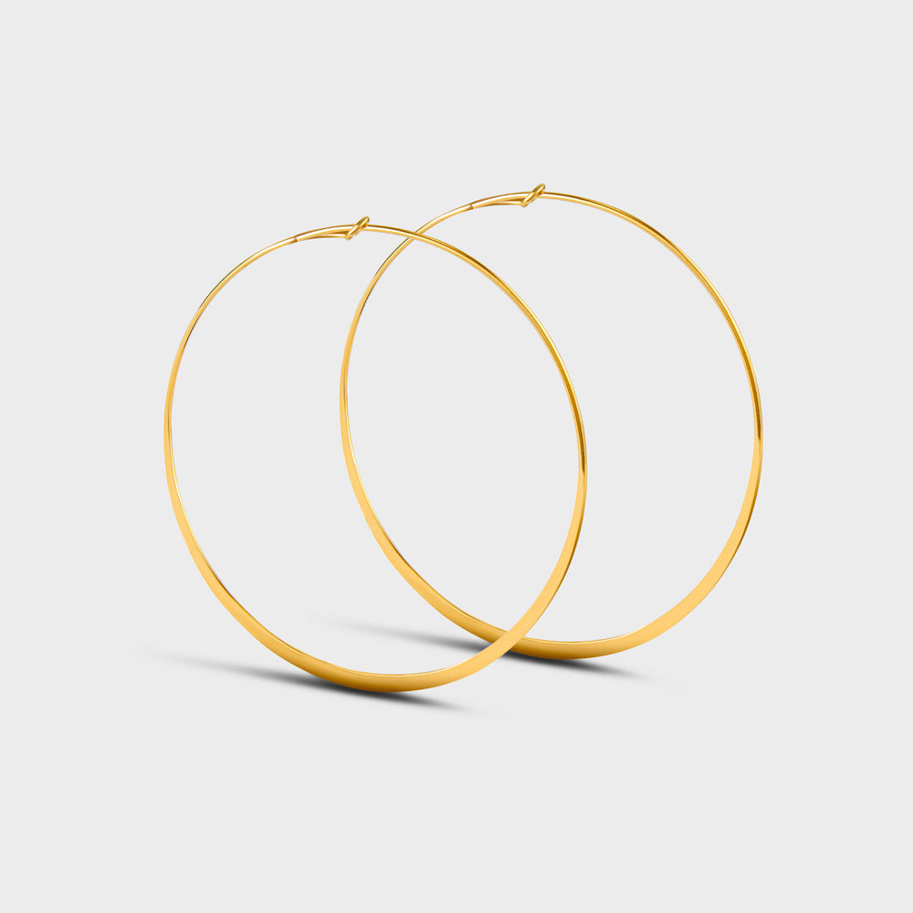Extra Large Flatten Wire Hoops Earrings