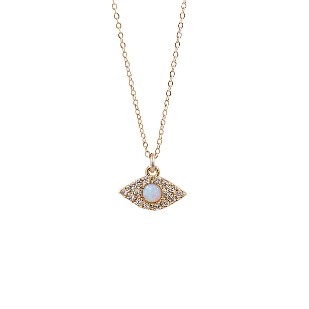CZ Pave Evil Eye + Opal Pendant Necklace