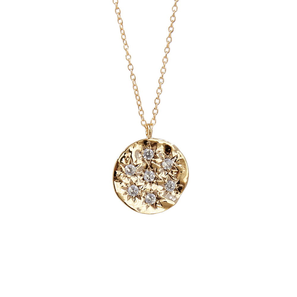 CZ Pave Multi Stars Disc Pendant Necklace