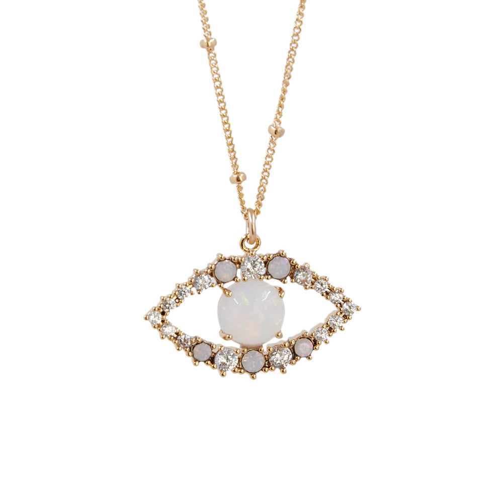 CZ Pave Evil Eye + Opal Outline Necklace