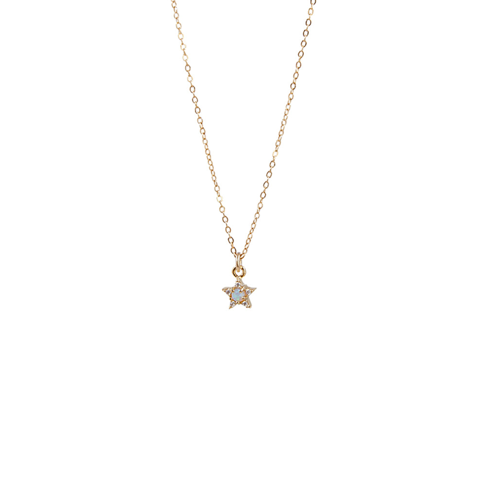 Tiny CZ Pave Star + Opal Pendant Necklace