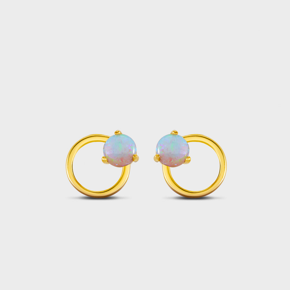 Opal Circle Outline Stud Earrings