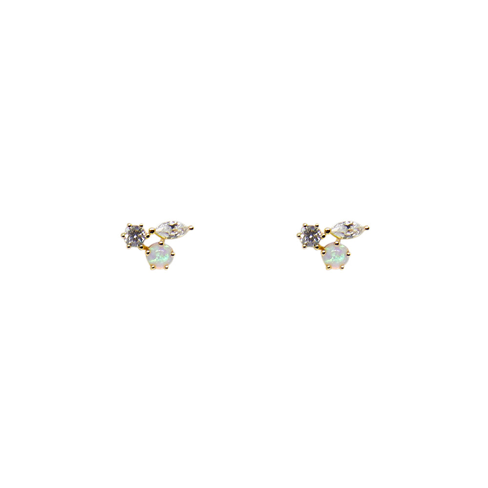 Opal + CZ Trio Cluster Stud Earrings