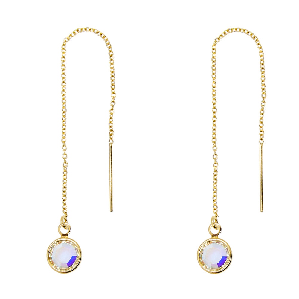 Iridescent Crystal Drop Threader Earrings