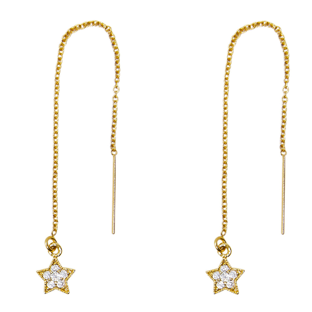 Tiny Pave Star Threader Earrings