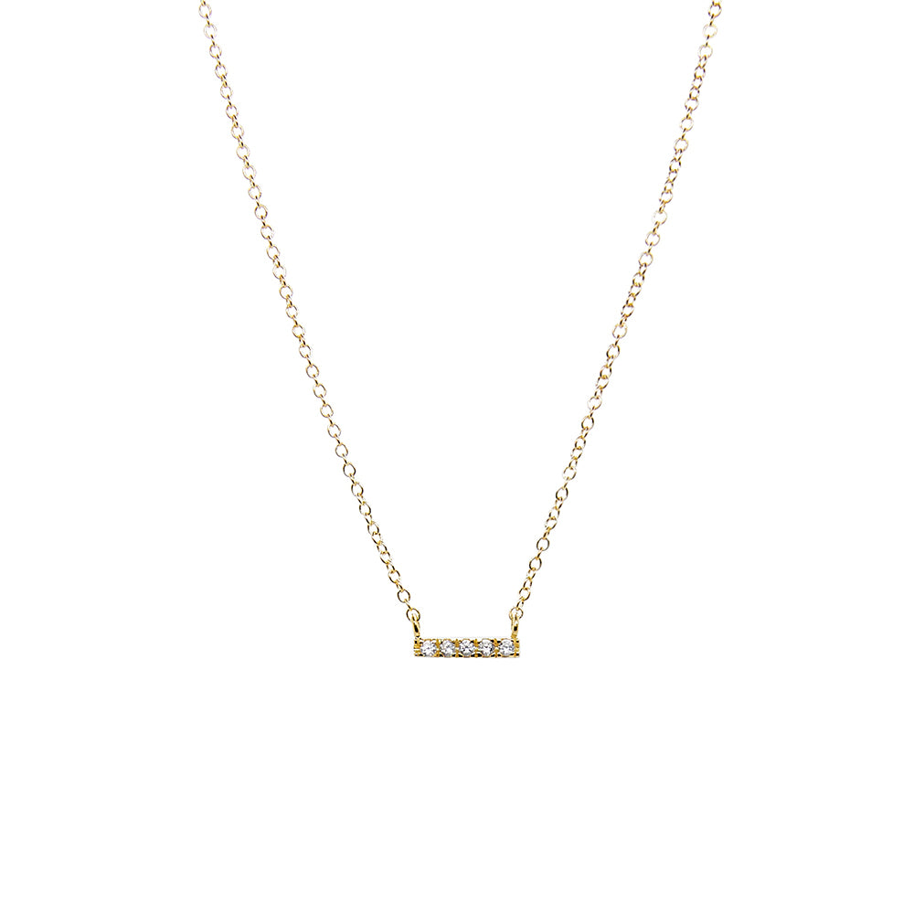 Tiny CZ Pave Bar Necklace