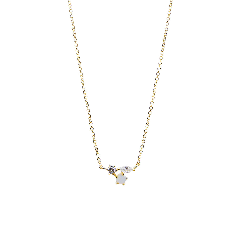 Opal + CZ Trio Cluster Necklace