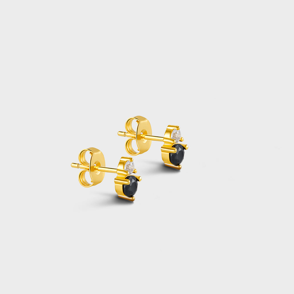 Irregular Duo Clear + Black CZ Prong Studs