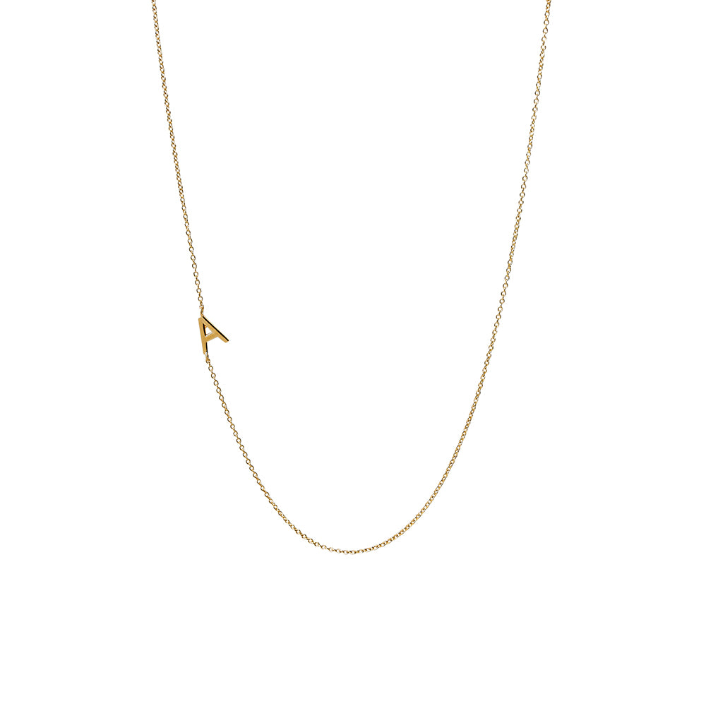 """A"" Offset Initial Necklace"