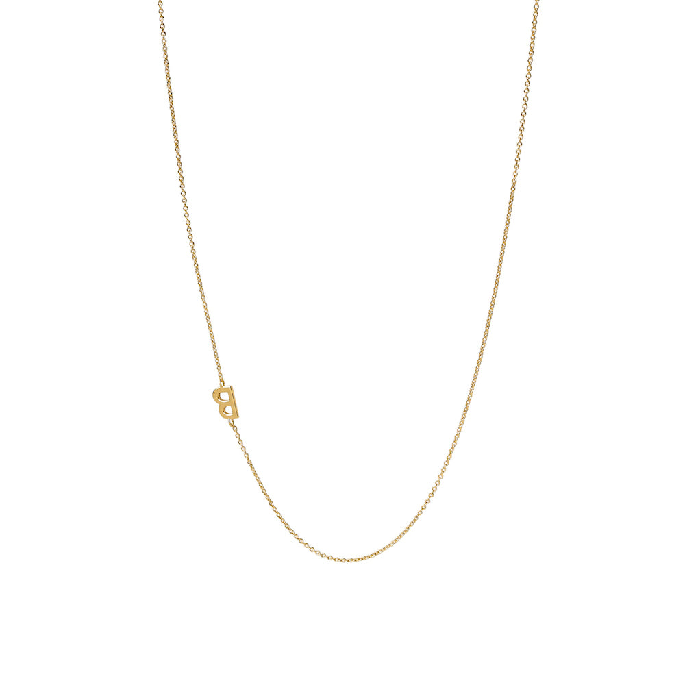 """B"" Offset Initial Necklace"