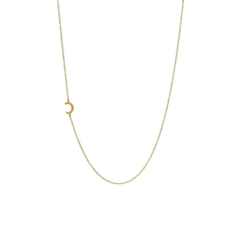 """C"" Offset Initial Necklace"