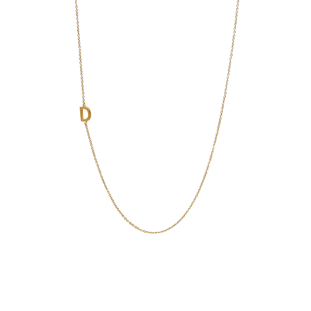 """D"" Offset Initial Necklace"
