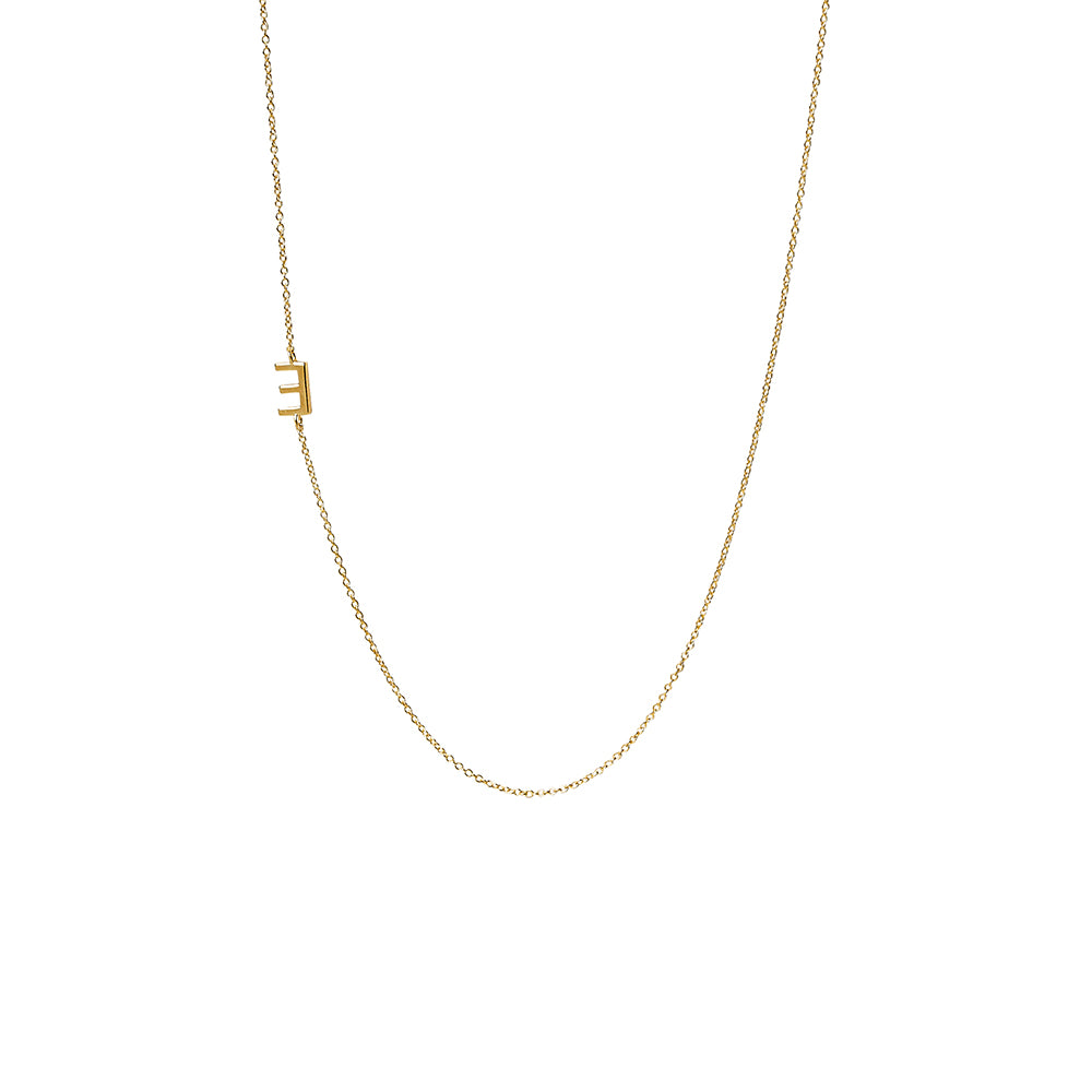 """E"" Offset Initial Necklace"