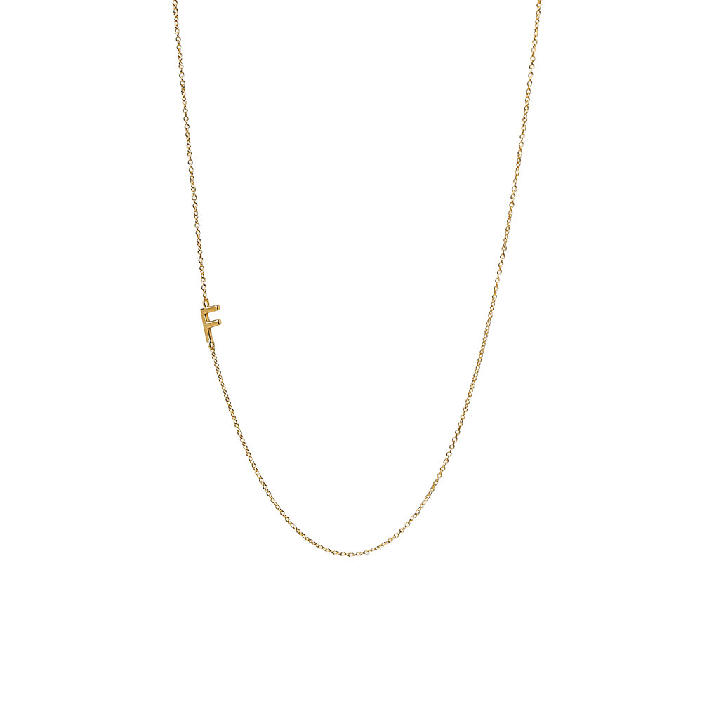 """F"" Offset Initial Necklace"
