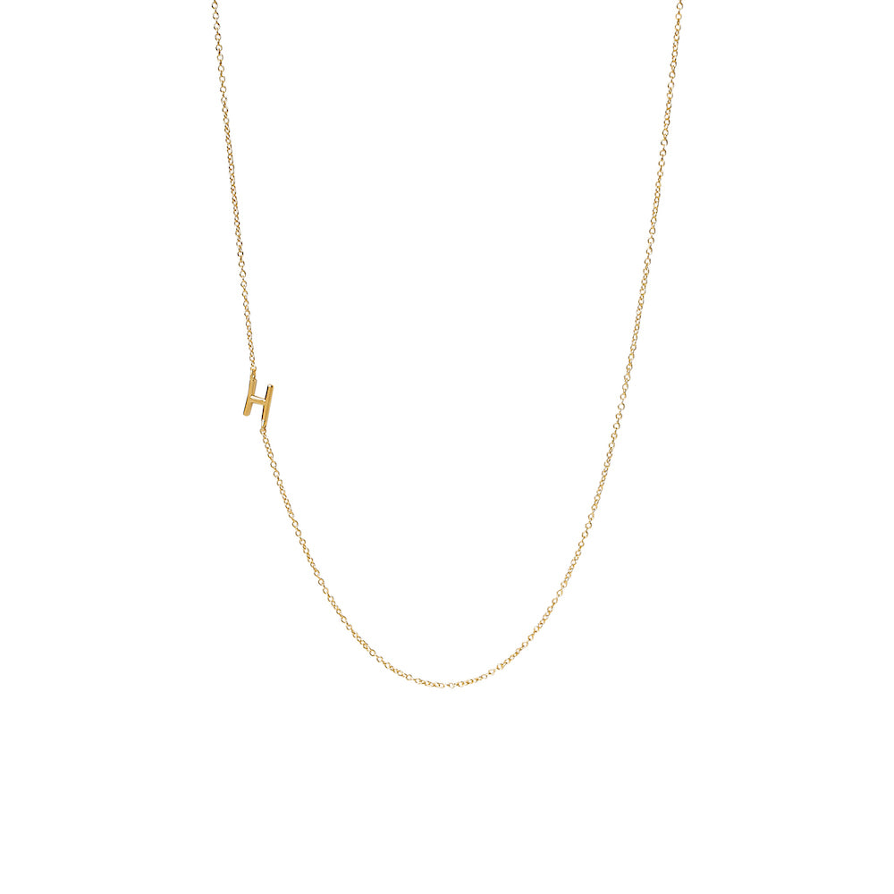 """H"" Offset Initial Necklace"