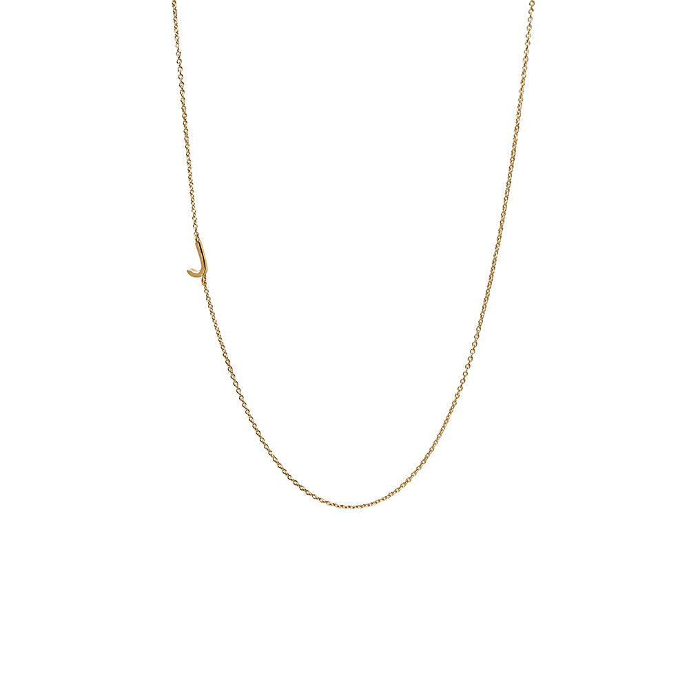"""J"" Offset Initial Necklace"