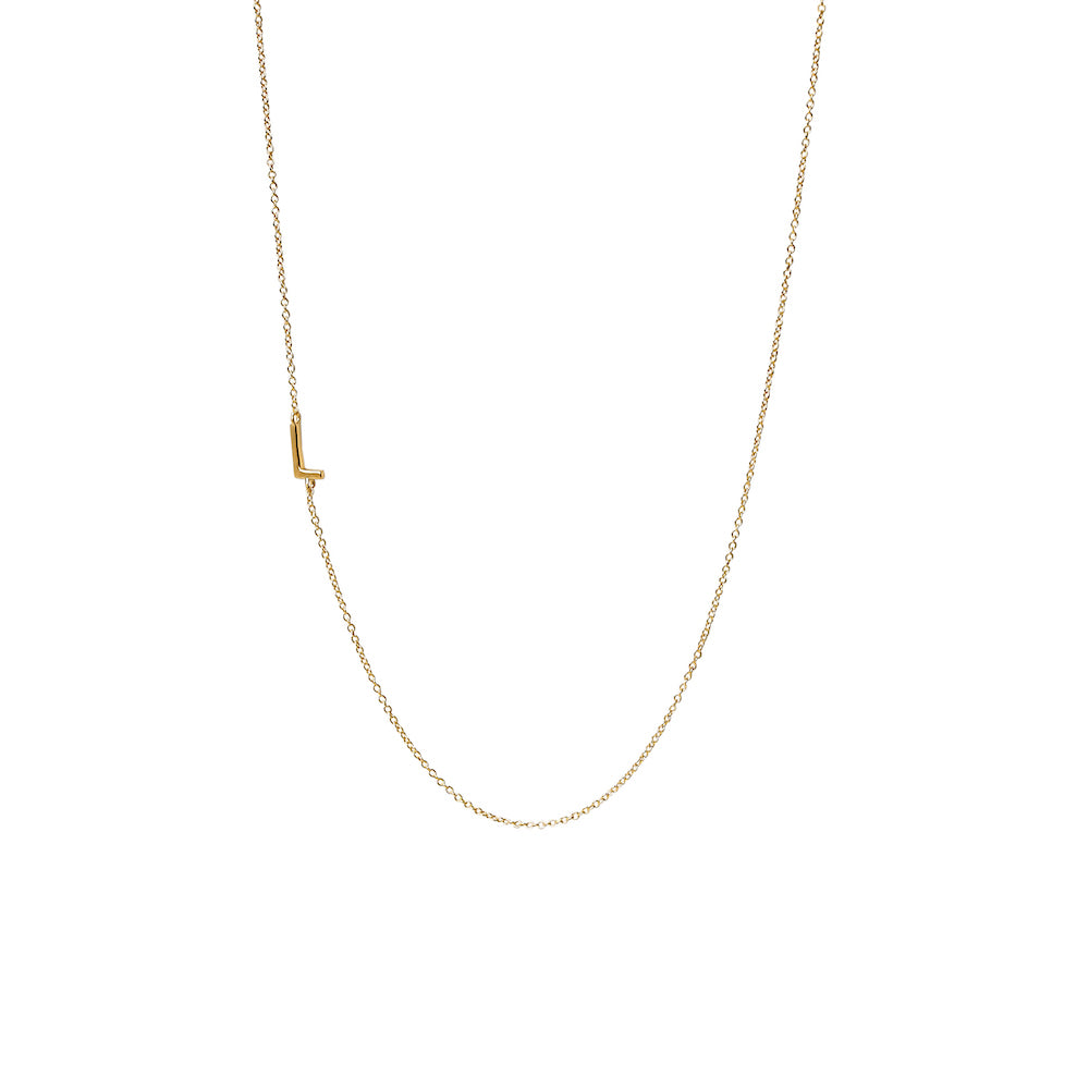 """L"" Offset Initial Necklace"
