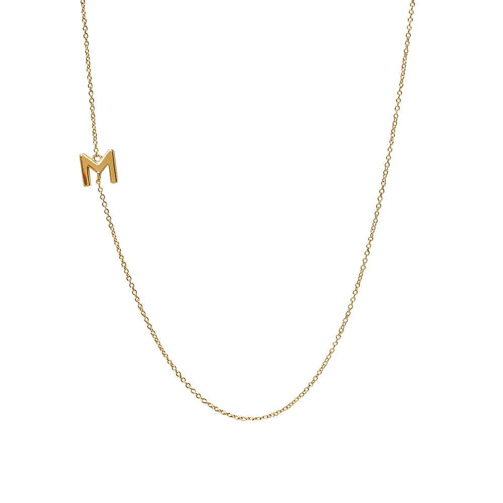"""M"" Offset Initial Necklace"