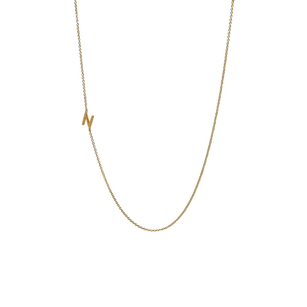 """N"" Offset Initial Necklace"