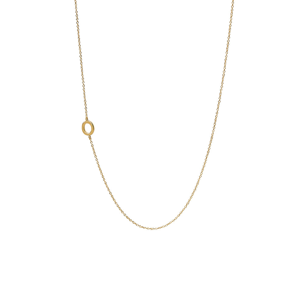 """O"" Offset Initial Necklace"